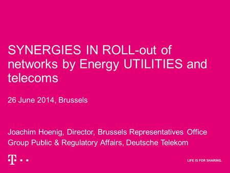 SYNERGIES IN ROLL-out of networks by Energy UTILITIES and telecoms 26 June 2014, Brussels Joachim Hoenig, Director, Brussels Representatives Office Group.