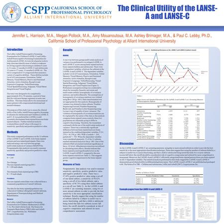 The Clinical Utility of the LANSE- A and LANSE-C Jennifer L. Harrison, M.A., Megan Pollock, M.A., Amy Mouanoutoua, M.A. Ashley Brimager, M.A., & Paul C.
