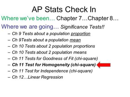 AP Stats Check In Where we've been… Chapter 7…Chapter 8… Where we are going… Significance Tests!! –Ch 9 Tests about a population proportion –Ch 9Tests.