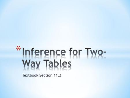 Textbook Section 11.2. * We already know how to compare two proportions for two populations/groups. * What if we want to compare the distributions of.