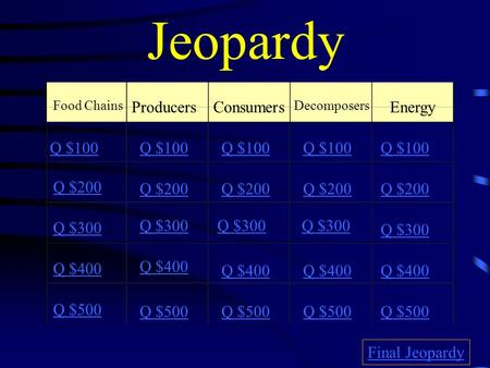 Jeopardy Food Chains ProducersConsumers Decomposers Energy Q $100 Q $200 Q $300 Q $400 Q $500 Q $100 Q $200 Q $300 Q $400 Q $500 Final Jeopardy.
