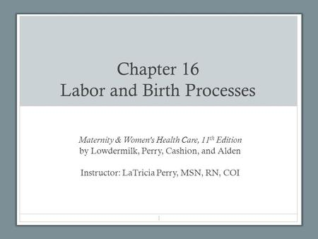 Chapter 16 Labor and Birth Processes Maternity & Women's Health Care, 11 th Edition by Lowdermilk, Perry, Cashion, and Alden Instructor: LaTricia Perry,