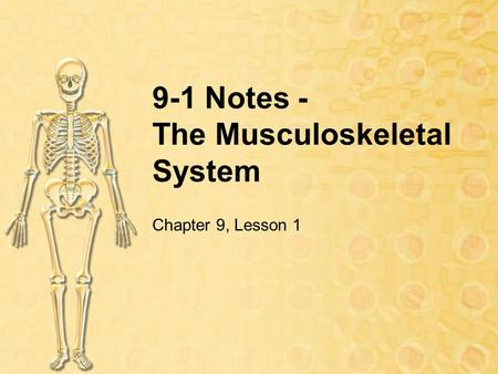 9-1 Notes - The Musculoskeletal System Chapter 9, Lesson 1.