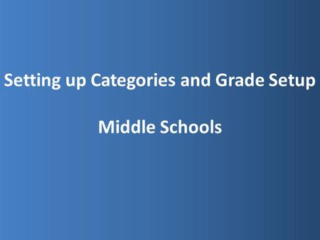 Setting up Categories and Grade Setup Middle Schools.