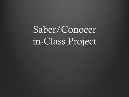 "Saber/Conocer in-Class Project. Instrucciones… You are going to show ""what you know"" in a mini-project. You can choose to do this project as a poster,"