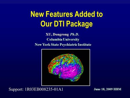 New Features Added to Our DTI Package XU, Dongrong Ph.D. Columbia University New York State Psychiatric Institute Support: 1R03EB008235-01A1 June 18, 2009.
