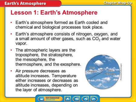 Key Concepts 1 Earth's atmosphere formed as Earth cooled and chemical and biological processes took place. Earth's atmosphere consists of nitrogen, oxygen,