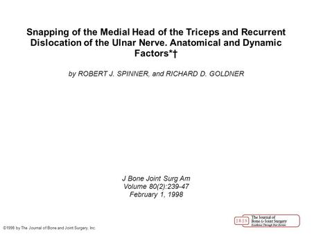 Snapping of the Medial Head of the Triceps and Recurrent Dislocation of the Ulnar Nerve. Anatomical and Dynamic Factors*† by ROBERT J. SPINNER, and RICHARD.