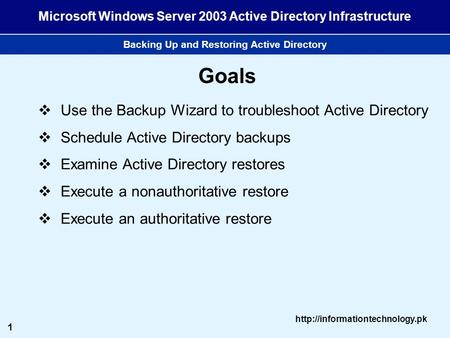 1  Microsoft Windows Server 2003 Active Directory Infrastructure Backing Up and Restoring Active Directory Goals  Use the.