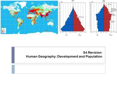 S4 Revision: Human Geography: Development and Population.