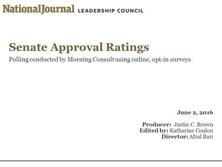 Senate Approval Ratings Polling conducted by Morning Consult using online, opt-in surveys June 2, 2016 Producer: Justin C. Brown Edited by: Katharine Conlon.