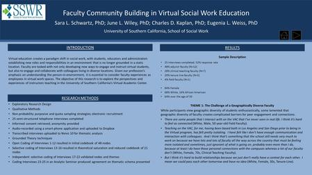 Faculty Community Building in Virtual Social Work Education Sara L. Schwartz, PhD; June L. Wiley, PhD; Charles D. Kaplan, PhD; Eugenia L. Weiss, PhD University.