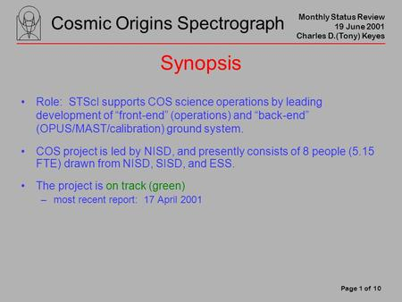 Cosmic Origins Spectrograph Monthly Status Review 19 June 2001 Charles D.(Tony) Keyes Page 1 of 10 Synopsis Role: STScI supports COS science operations.