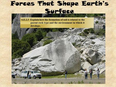 Forces That Shape Earth's Surface 6.E.2.3 Explain how the formation of soil is related to the parent rock type and the environment in which it develops.