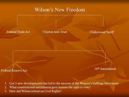 Wilson's New Freedom Federal Trade ActClayton Anti-Trust Underwood Tariff Federal Reserve Act 16 th Amendment 1.List 3 new developments that led to the.