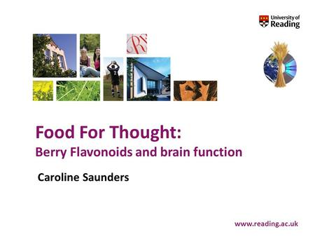 Food For Thought: Berry Flavonoids and brain function www.reading.ac.uk Caroline Saunders.