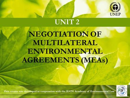 NEGOTIATION OF MULTILATERAL ENVIRONMENTAL AGREEMENTS (MEAs) This course was developed in cooperation with the IUCN Academy of Environmental Law.