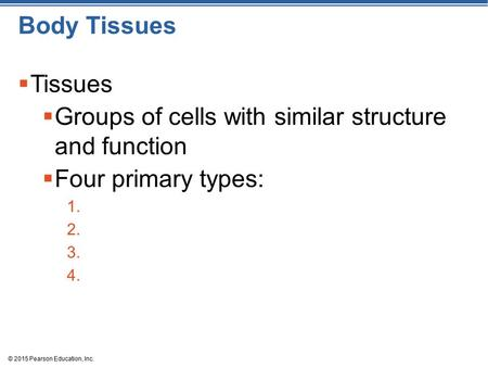 © 2015 Pearson Education, Inc. Body Tissues  Tissues  Groups of cells with similar structure and function  Four primary types: 1. 2. 3. 4.