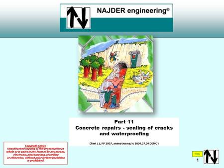 Part 11 Concrete repairs - sealing of cracks and waterproofing (Part 11, PP 2007, animation+p/r : 2009.07.09 DEMO) ready Copyright notice Unauthorised.
