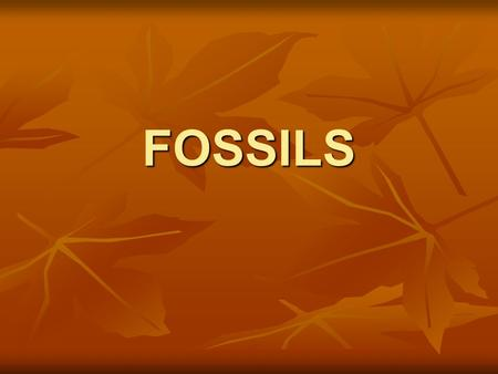FOSSILS. FORMATION OF FOSSILS Fossils are preserved remains or traces of living things. Fossils are preserved remains or traces of living things. Most.