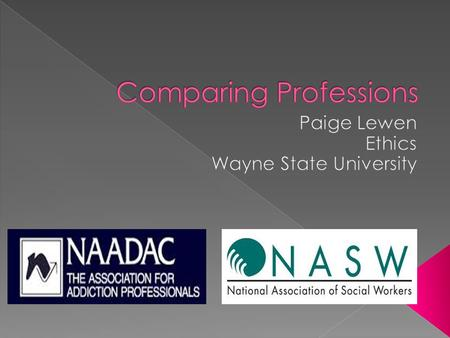  Counseling substance abuse users.  NASW: National Association of Social Workers- code of ethics.  NAADAC: National Association of Alcoholism and.