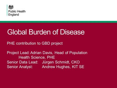 Global Burden of Disease PHE contribution to GBD project Project Lead:Adrian Davis, Head of Population Health Science, PHE Senior Data Lead:Jürgen Schmidt,