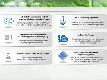 Haemillia's Philosophy - 1 - ECOCERT: a certification body of organic agricultural products in France Containing ingredients certified by ECOCERT in accordance.