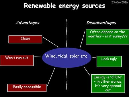 "23/06/2016 Renewable energy sources Wind, tidal, solar etc AdvantagesDisadvantages Clean Easily accessible Won ' t run out Look ugly Energy is "" dilute."