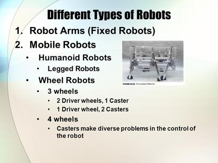 Different Types of Robots 1.Robot Arms (Fixed Robots) 2.Mobile Robots Humanoid Robots Legged Robots Wheel Robots 3 wheels 2 Driver wheels, 1 Caster 1.