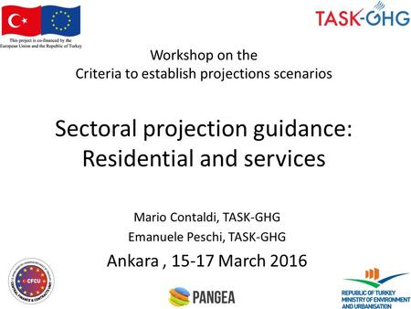 Workshop on the Criteria to establish projections scenarios Sectoral projection guidance: Residential and services Mario Contaldi, TASK-GHG Emanuele Peschi,
