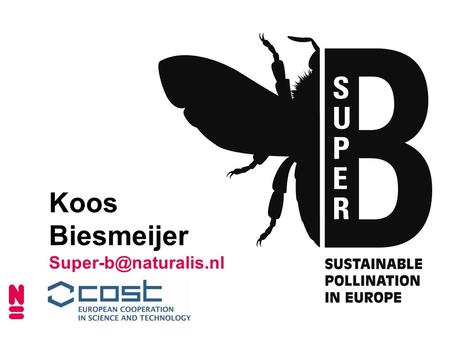Koos Biesmeijer WHY SUPER-B ? Sustainable Pollination in Europe: joint Research on Bees and other pollinators Crop pollination is.