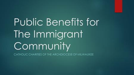 Public Benefits for The Immigrant Community CATHOLIC CHARITIES OF THE ARCHDIOCESE OF MILWAUKEE.