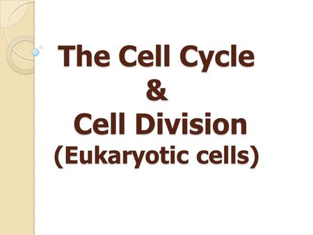 The Cell Cycle & Cell Division (Eukaryotic cells).