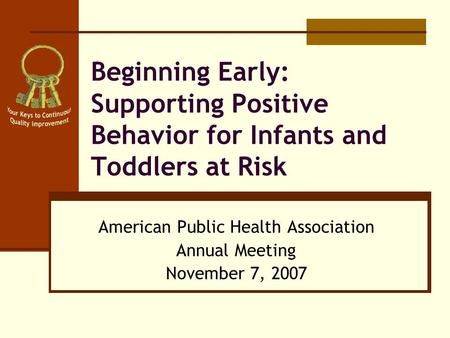 Beginning Early: Supporting Positive Behavior for Infants and Toddlers at Risk American Public Health Association Annual Meeting November 7, 2007.