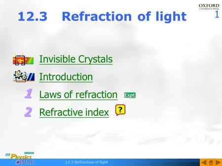 1 12.3 Refraction of light Invisible Crystals Introduction Laws of refraction Refractive index ?