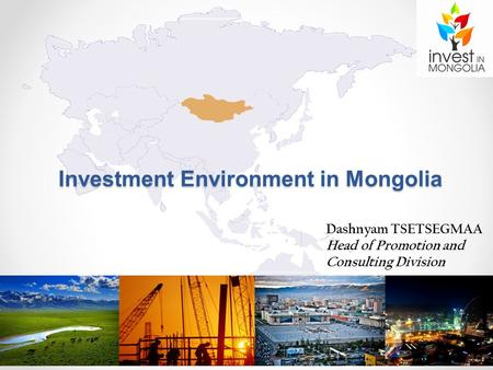 Dashnyam TSETSEGMAA Head of Promotion and Consulting Division Investment Environment in Mongolia.