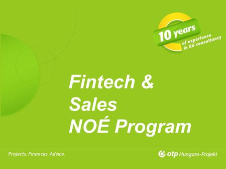 29 April, 2013 Projects. Finances. Advice. Fintech & Sales NOÉ Program.