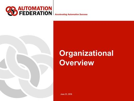 June 23, 2016 Organizational Overview. 2 Automation Federation Background A fragmented community of automation professional associations and societies.