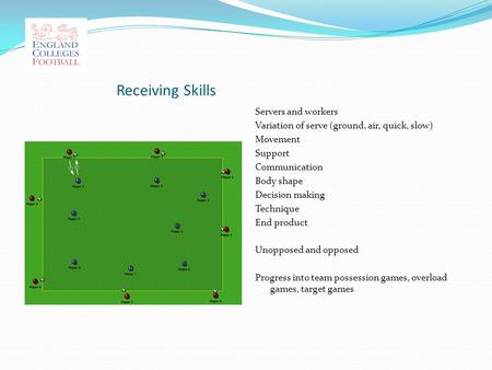 Receiving Skills Servers and workers Variation of serve (ground, air, quick, slow) Movement Support Communication Body shape Decision making Technique.