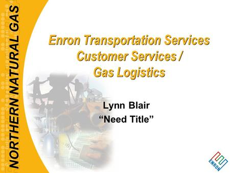 "NORTHERN NATURAL GAS Enron Transportation Services Customer Services / Gas Logistics Lynn Blair ""Need Title"""