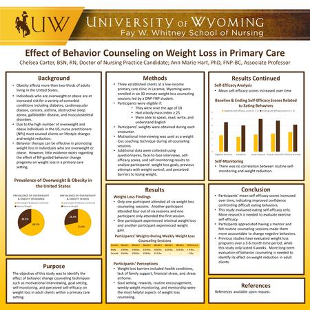 Effect of Behavior Counseling on Weight Loss in Primary Care Chelsea Carter, BSN, RN, Doctor of Nursing Practice Candidate; Ann Marie Hart, PhD, FNP-BC,