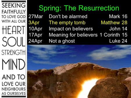 Spring: The Resurrection 27MarDon't be alarmedMark 16 3AprThe empty tombMatthew 28 10AprImpact on believersJohn 14 17AprMeaning for believers1 Corinth.
