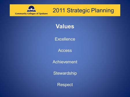 2011 Strategic Planning Values Excellence Access Achievement Stewardship Respect.