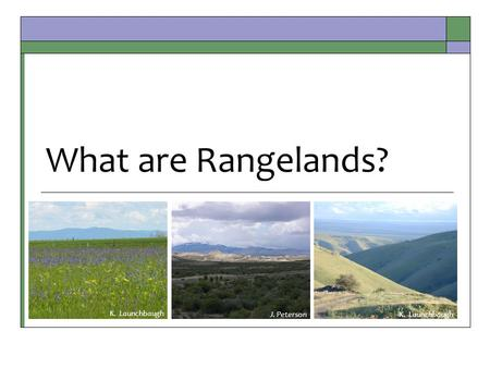 What are Rangelands? J. PetersonK. Launchbaugh. Wild Open Spaces of the West  What is rangeland?  How much rangeland?  Who owns rangeland?  What is.