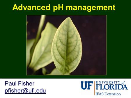 Advanced pH management Paul Fisher