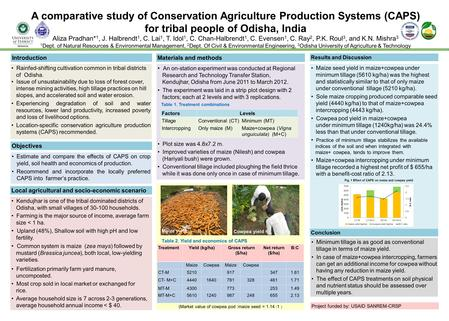 (Market value of cowpea pod :maize seed = 1.14 :1 ) A comparative study of Conservation Agriculture Production Systems (CAPS) for tribal people of Odisha,