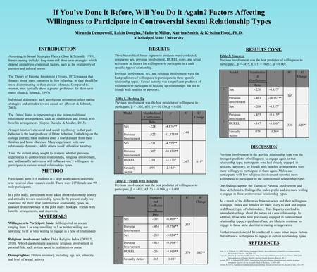If You've Done it Before, Will You Do it Again? Factors Affecting Willingness to Participate in Controversial Sexual Relationship Types Miranda Dempewolf,