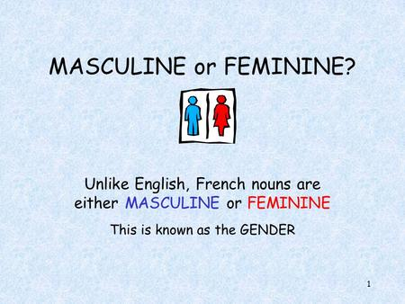 1 MASCULINE or FEMININE? Unlike English, French nouns are either MASCULINE or FEMININE This is known as the GENDER.