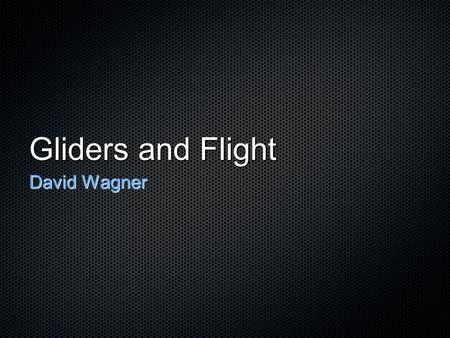 Gliders and Flight David Wagner.