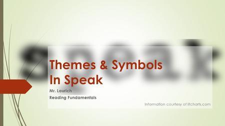 Themes & Symbols In Speak Mr. Laurich Reading Fundamentals Information courtesy of litcharts.com.